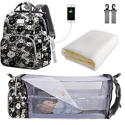 SNDMOR sac à langer pour bébé sac à dos, sacs à langer grande capacité, sac à langer de voyage portable avec lit pliable, sac à dos pour lit bébé (Fleur noire et blanche)