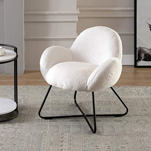 Wahson Accent Chair Scalloped Armchair with Black Metal Legs Occasional Tub Chair for Bedroom/Living Room,Faux Fur Soft Fluffy (White)