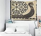 Capsceoll Wandteppich, 101,6 x 76,2 cm, Motiv der Wikinger im antiken skandinavischen Muster, nordische Runen, isoliert, weißer Drakkar Wandbehang für Wohnheim