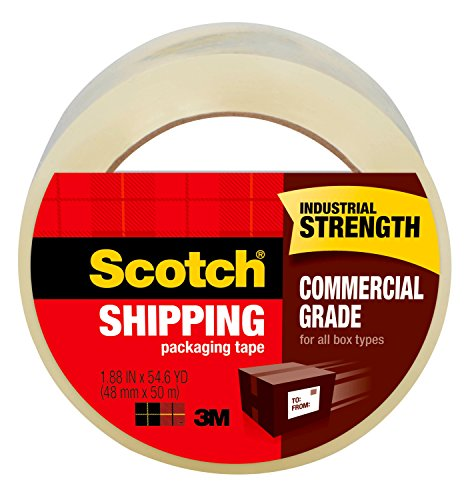 "Scotch Commercial Grade Packaging Tape, 1.88"" x 54.6 yd, Designed for Packing, Shipping and Mailing, Strong Hold on All Box Types Including Recycled, 3"" Core, Clear, 1 Roll -3750"