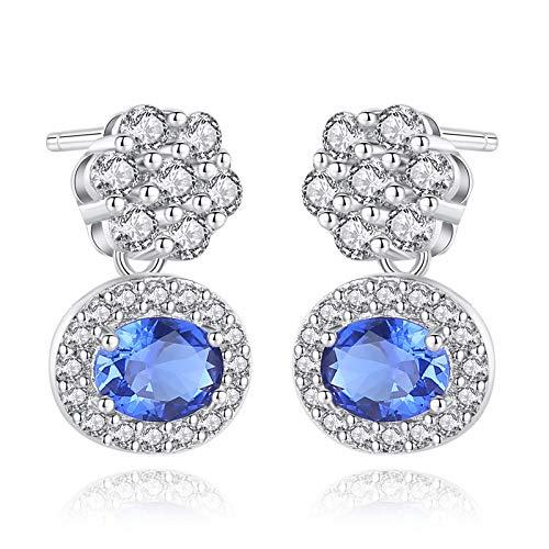 Beydodo Pendientes de Plata Mujer 925,Pendientes de Mujer Plata Azul Flor con Oval Circonita Azul