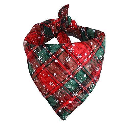 Tonsee Hunde Halstuch Halsband Weihnachten Druck Verstellbare Hundehalsband Tuch Halstuch Bandana für Hund Puppy Katze Haustier (S, Grün)