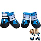 Elehui Dog Shoes Protective Dog Boots Set of 4 Waterproof Dog Shoes with Safe Reflective Straps, Rugged Anti-Slip Sole and Skid-Proof Outdoor Paw Protectors for Small, Medium and Large Dogs (L, Blue)