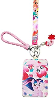 Cute Cartoon Badge Holder with 2 Card Slots,Safety Breakaway Clip My Little Pony Print Pink Lanyard, PU Leather ID Badge Holder with Cartoon Shield Keychain for Students Teens Women and Little Girls