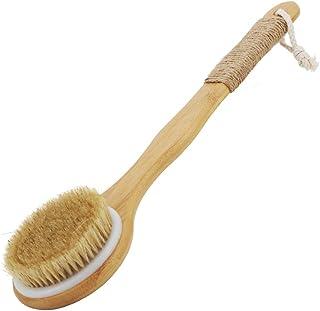 Extra-Long Curved Handle Nan Bamboo Giant Hog Bristle Bath Brush, Back Rubbing Brush, Pig Bristle Cleaning Bath Brush