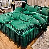 juego de fundas de edredón y de almohada de microfibra,La sensación de verano fresco es agua para lavar la ropa de cama de encaje de viento de la princesa de cuatro piezas de la princesa de cuatro pi