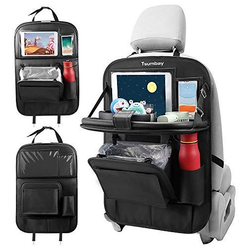Tsumbay Auto Rückenlehnenschutz, Autositz Organizer mit Müllsack, Rücksitz Organizer mit Tablet/Telefon Aufbewahrung, Wasserdicht Multifunktionale Auto Aufbewahrungstasche
