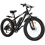 Speedrid Electric Bike Fat Tire Electric Bicycle 26' 4.0, 500W Powerful Motor, 48V 10Ah Removable Battery and Professional 7 Speed (Blue)