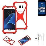 K-S-Trade® Handyhülle + Kopfhörer Für Leagoo T5C Schutzhülle Bumper Silikon Schutz Hülle Cover Case Silikoncase Silikonbumper TPU Softcase Smartphone, Rot (1x),