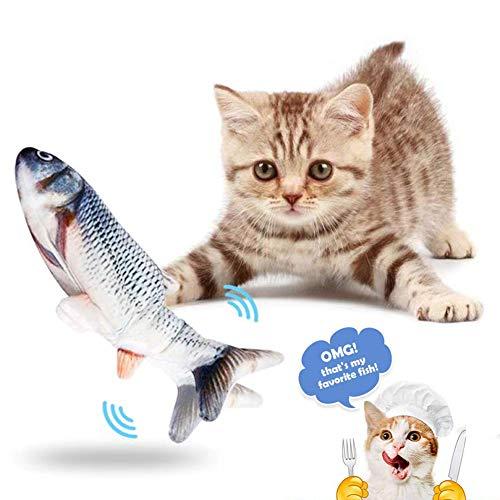 Suprcrne Giocattoli per Gatti, Simulazione Realistica di Peluche Pesce Bambola Elettrica, Divertenti Animali Interattivi Giocattolo per la Pulizia dei Denti