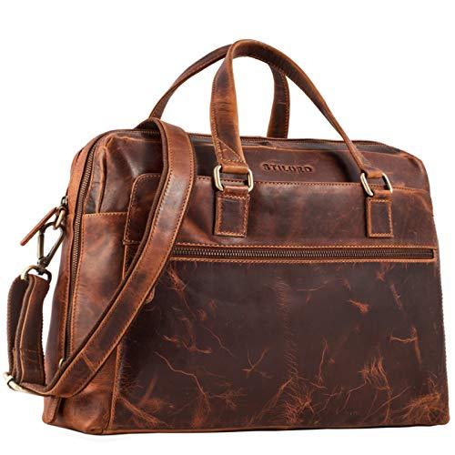 STILORD 'Liam' Business Bag Men Women Briefcase Two Large Compartmentes Office Bag Expansion Zipper Real Cow Leather, Colour:Kara - Cognac