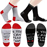 SATINIOR 3 Pairs Watching Christmas Movie Socks Christmas Letters Printed Socks If You Can Read This Soft Socks Gift (Red, Black)