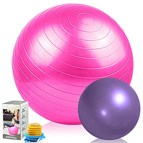 TopBine 2 Pcs Gymnastikball 65cm Mini Pilates Ball 23cm Anti-Burst Extra Dicker Fitnessball Anti-Rutsch Stabilitätsball, Sitzball mit Schnellpumpe, für Yoga, Pilates, Balance, Rückentraining