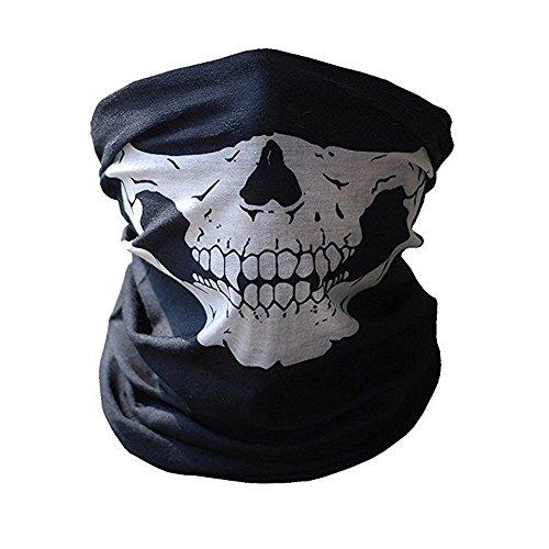 3X Premium Multifunktionstuch | Sturmmaske | Bandana | Schlauchtuch | Halstuch mit Totenkopf- Skelettmasken für Motorrad Fahrrad Ski Paintball Gamer Karneval Kostüm Skull Maske … (Weiss/Grün/Rot) - 4