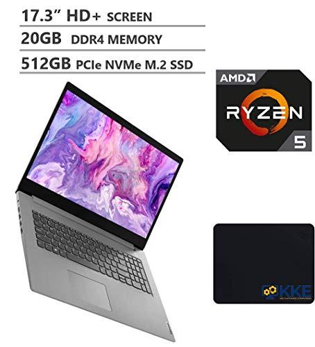 "Lenovo IdeaPad 3 Laptop, 17.3"" HD+ Screen, AMD Ryzen 5 4500U Processor up to 4.0GHz, 20GB DDR4 RAM, 512GB PCIe SSD, HDMI, Windows 10, Fingerprint Reader, Platinum Grey, KKE Mousepad"