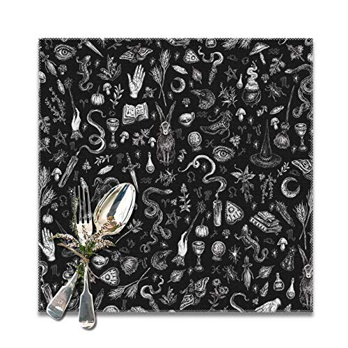 Salem - Manteles individuales de bruja en color negro, lavable, decoración para restaurante y cocina, mesa de comedor, juego de 6, 30 x 30 cm