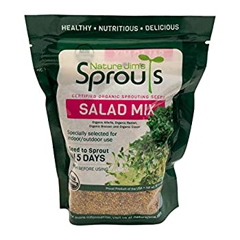 Nature Jim's Sprouts Salad Sprout Mix - Organic Salad Mix for Growing - Non-GMO Microgreen Seeds - Healthy Broccoli Alfalfa Radish Clover Sprouting Seeds Variety Mix - Microgreens Growing 1lb
