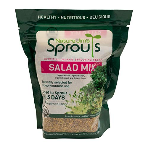 Nature Jim's Sprouts Salad Sprout Mix - Organic Salad Mix for Growing - Non-GMO Microgreen Seeds - Healthy Broccoli, Alfalfa, Radish, Clover Sprouting Seeds Variety Pack - Microgreens Growing 1lb