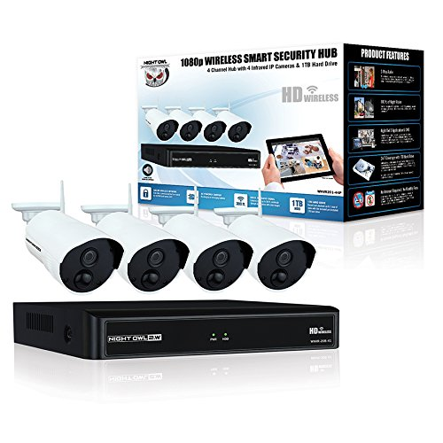 Night Owl Camera System 4 Channel 1080p Wireless Smart Security H   ub, White (WNVR201-44P-B)