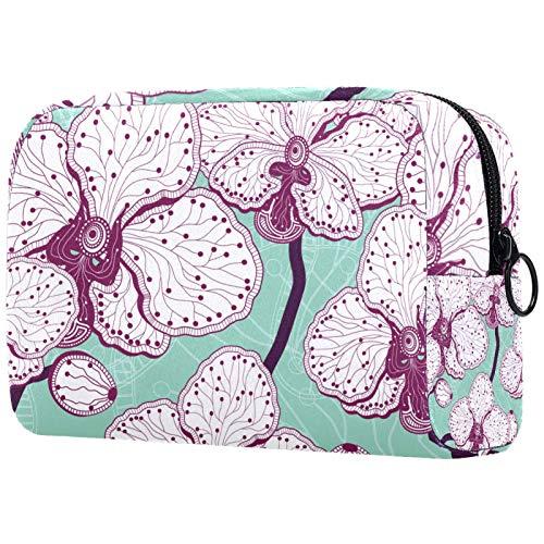 ATOMO Bolsa de maquillaje, bolsa de viaje de moda, neceser grande, organizador de maquillaje para mujeres, orquídea mariposa