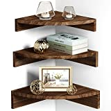 Alsonerbay Corner Floating Shelves, Wall Mounted Rounded Wood Shelf Set of 3, Rustic Storage Shelving for Bedroom, Kitchen, Living Room, Nursery and Office (Dark Brown)