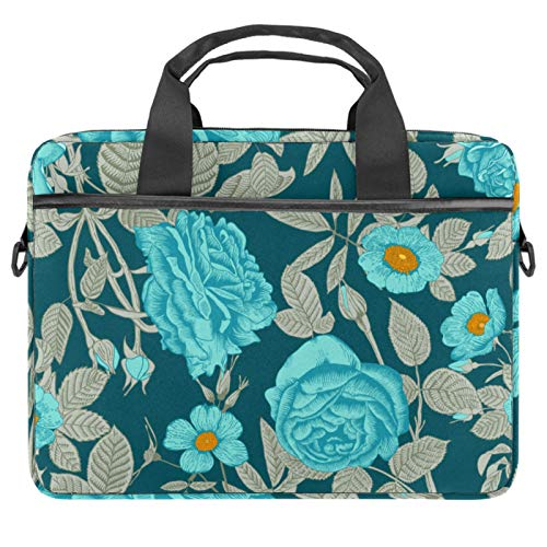 Blue roses Laptop Bag Expandable Laptop Briefcase Fits Up to 13.4 14.5 Inch Laptop Shoulder Messenger Bag Computer Bag for Travel/Business/School/Men/Women