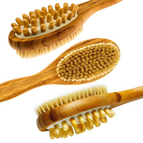 LunaBody Bamboo Body Brush for Back Scrub - Natural Boar Bristle Shower Brush Scrubber with Long Handle - Exfoliate Skin and Cellulite - Wet or Dry