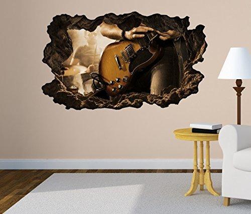 3D Wandtattoo Musik Rock Rocker Gitarre Kunst selbstklebend Wandbild Tattoo Wohnzimmer Wand Aufkleber 11M528, Wandbild Größe F:ca. 140cmx82cm