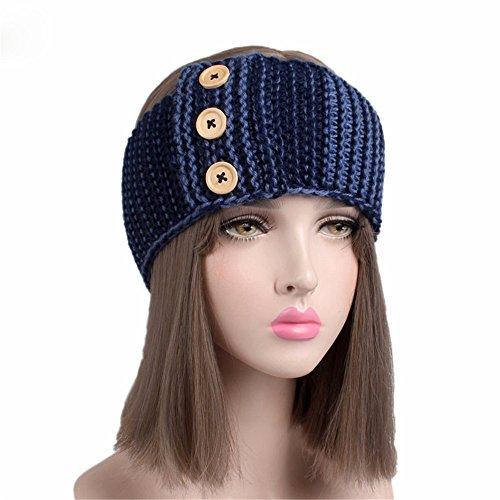 Fashionshao Drie houten gesp wol haarband dames hoofdband winter warme oorkappen
