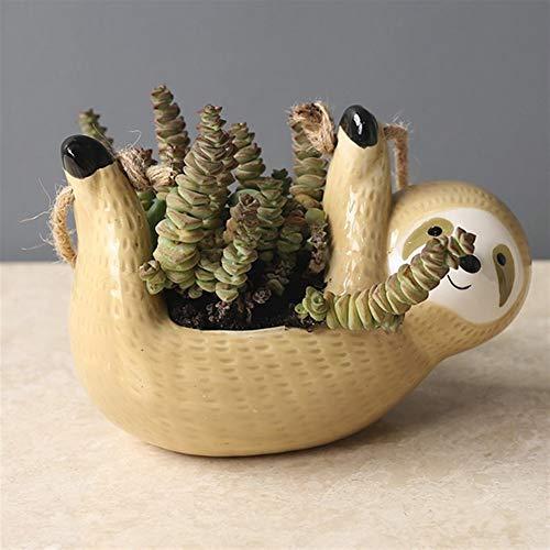 GZSC La Pereza Tiesto Tiesto Animal plantador Colgante crisoles de cerámica for Las Plantas de jardín Inicio Cuelgue Planta Scindapsus Chlorophytum Pot (Color : S Sloth B)