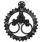 Fdit Orologio da ingranaggio Orologio da Parete Lancetta Moderna Ruota con Calendario 3D Steampunk Nero