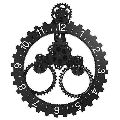 Jacksking Zahnrad Uhr, 3D Moderne große Wandkunst rotierende mechanische Uhr Kalender Rad Sägezahn Ziffer Uhr Moving Decor (schwarz)