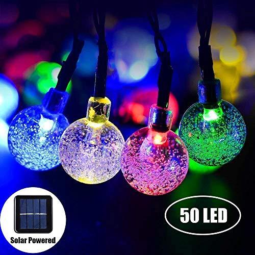 Marvelights Träume Kristall Solar Lichterketten Wasserdicht Träume Kristall Für Zimmer Weihnachten Garten Dekoration Weiß und Farbe LED leuchtet (Farbe, 7m 50LED)