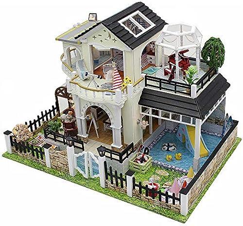 DIY Puppenhaus Holz Villa Miniatur Puppenhaus M l Kit Spielzeug mit LED-Licht und Puppenh er Zubeh M l Holzrahmen