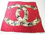 シャネル スカーフ カレ 83×83 赤系 シルク 中古