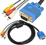 Cable de vídeo componente VGA macho a 3 RCA adaptador (VGA a RCA)