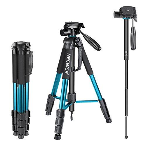 Neewer Tragbarer 177 Zentimeter Aluminium Legierung Kamera Stativ Einbeinstativ mit 3-Wege-Drehgelenk Pan Head, Tasche für DSLR-Kamera, DV Video Camcorder, belastbar bis 4 Kilogramm blau (sab264)
