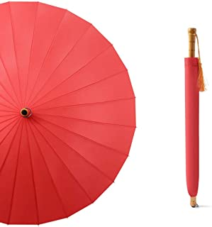 SHANGRUIYUAN-Umberllas Wooden Handle Umbrella Large Canopy Ergonomic Handle with 10 Reinforced Fiberglass Ribs Windproof Durable Rain Guard (Color : Red, Size : Free)
