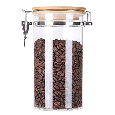 3E Home 23-2700 Large Coffee Canister, Container, Jar for Ground or Whole Bean, Glass Body and Bamboo Cap 40Oz Capacity