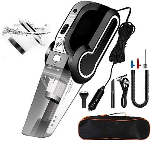Banral Handstaubsauger 4 in 1, Autostaubsauger Tragbarer Multifunktion und Luftkompressor Reifenfüller, Hochleistung Nass/Trocken Handsauger mit LED-Licht, DC 12V für Autoreifen, Schwimmring und Ball