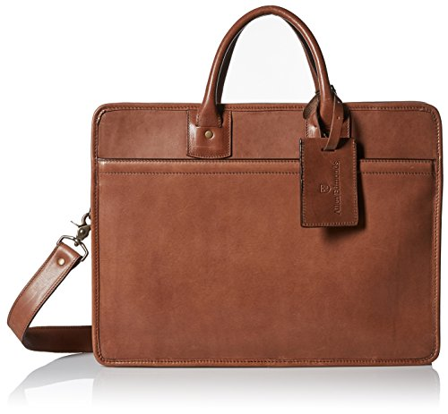 Allen Edmonds Men's Single Gusset Briefcase, Tan Saddle