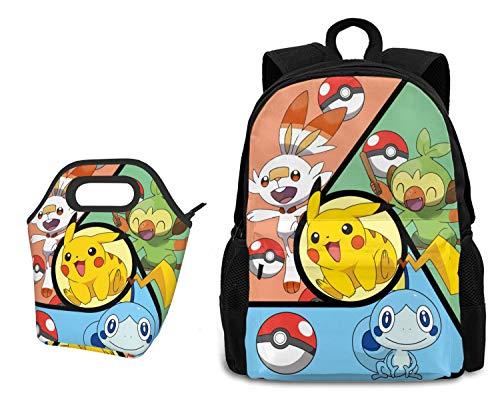 Sieayd Pokemon Anime Cartoon Backpack Lunch Bag 2-Piece Set
