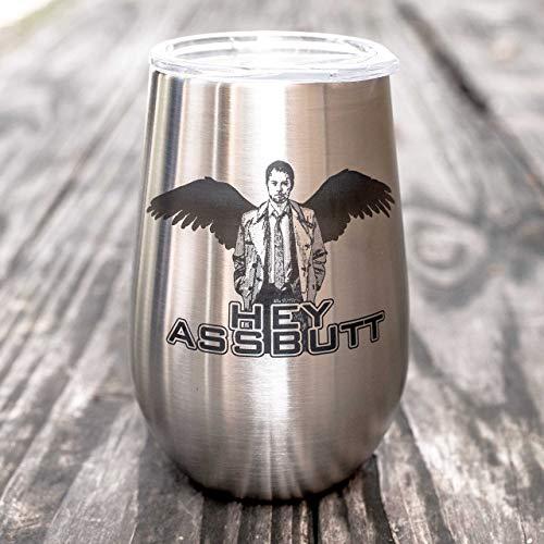 12oz - Hey Assbutt - SS Stemless Wine Glass