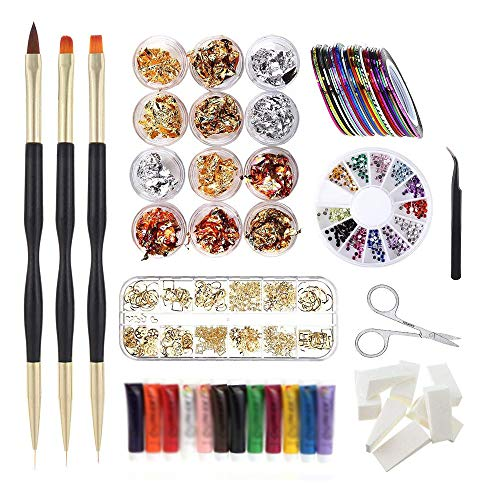 12 Style Decals Stencils Nail Art Tools Fashion Design Irregular 3d Rhinestones