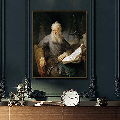 Diy pintura digital al óleo acrílico digital pintura a mano lienzo pintura al óleo imagen Apóstoles Paul Rembrandt van Rijn Caligrafía Pintura de regalos por lienzo digital con marco 40x50cm