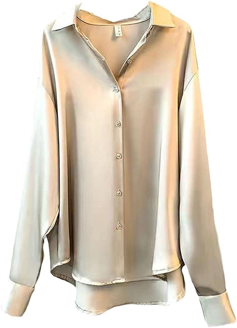 Spring Womens Silk Shirt, Vintage Casual Blouse Sheer Top, Long Sleeve Dress Shirt, Ladies Office Shirts Plus Size