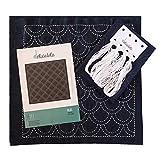 Sahiko | kit da ricamo giapponese | tessuto pre-stampato (30cm x 30cm) | Color blu (onde)