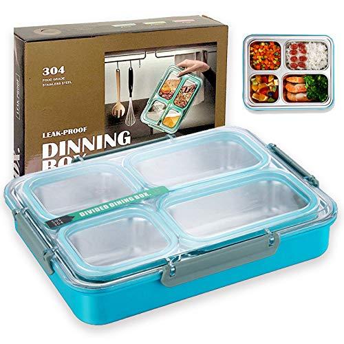 ZLDM 1800 Ml Lunchbox Edelstahl Auslaufsicher - Geteilt Und Versiegelt, Kein Überlauf Und Kein Geruch, Kinder & Erwachsene Brotdose Mit Fächern - Lunchbox Geeignet Für Schule