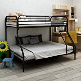 JURMERRY Twin-Over-Full Bunk Bed with Metal Frame and Ladder,Black