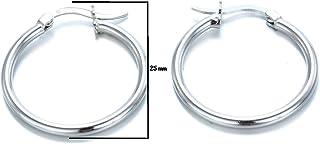 Aros Plata de Ley 925, Pendiente de aro fino con cierre de bisagra, – Diámetro: 35 mm. Plata Autentificada en Laboratorio ...